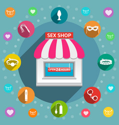 sex shop flat design concept vector image