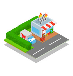 Shop concept banner isometric style vector