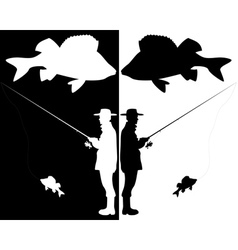 Silhouettes of fishermen vector