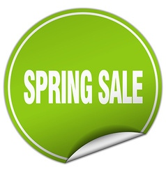 Spring sale round green sticker isolated on white vector