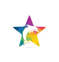 Star dolphin logo design vector