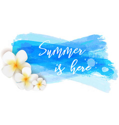 Summer is here watercolor brushed background vector