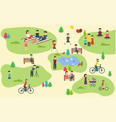 Summer public park with active people family vector