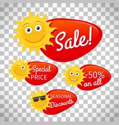 summer sale labels on transparent background vector image