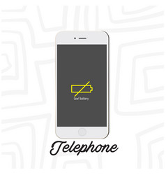 Telephone mobile low battery white background vect vector