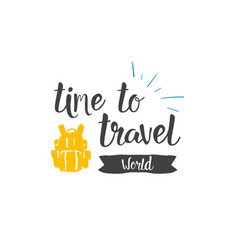 time to travel world icon hand drawn lettering vector image