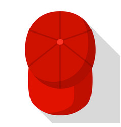top view of red baseball cap icon flat style vector image