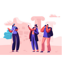 Tourist characters visit sightseeing with guide vector