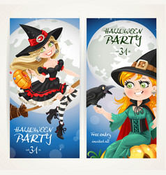 vertical banners for halloween party with witch vector image