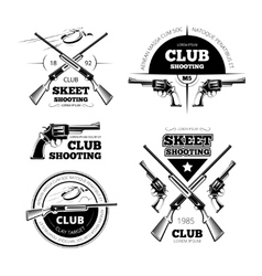 Vintage gun club labels logos emblems set vector