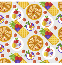 Waffles with fruits and decoration served dessert vector