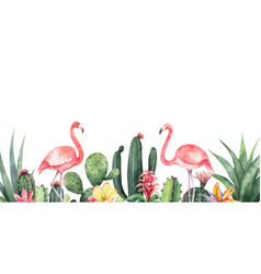 watercolor banner tropical flowers vector image