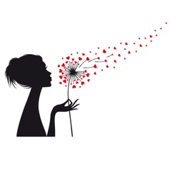 woman holding dandelion with red hearts vector image