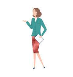 woman worker with short wavy hair cartoon vector image