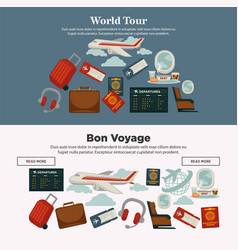 world tour and bon voyage promotional internet vector image