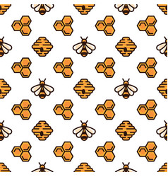 Yellow bee bee hive and honeycomb on white vector
