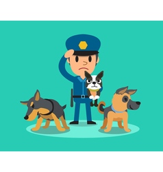 Cartoon security guard policeman with police guard vector image vector image