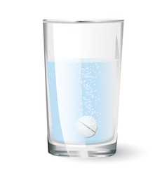 effervescent tablet in glass of water vector image