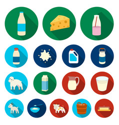 milk product flat icons in set collection for vector image vector image