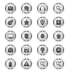 Web metal glass icons vector image