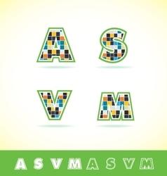 Alphabet letter set tiles vector image