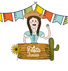 brazilian woman celebrating festa junina vector image vector image