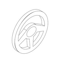 Car rudder wheel icon isometric 3d style vector