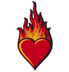 flaming heart vector image vector image