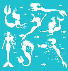 mermaid set white vector image vector image