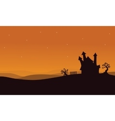 Silhouette of Halloween scary house vector image vector image