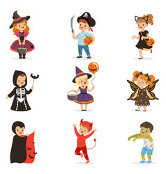 ute little kids in colorful halloween costumes vector image vector image
