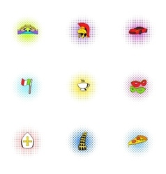 Venice icons set pop-art style vector