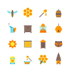 cartoon bee color icons set vector image vector image