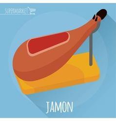 Flat design jamon icon vector
