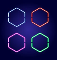 hexagonal neon glowing frames in different colors vector image