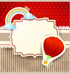 hot air balloon and rainbow over cardboard vector image