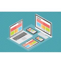 Responsive web design computer equipment 3d vector image