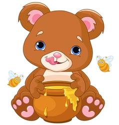 Bear Holds Honey Jar vector image vector image