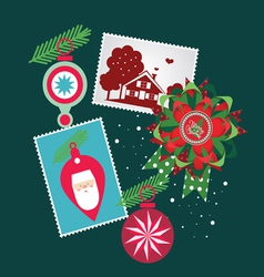 christmas set-greeting elements vector image