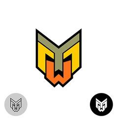 Evil daemon robot tech face logo Letters Y M and W vector image
