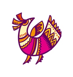 folk style pink and yellow bird vector image