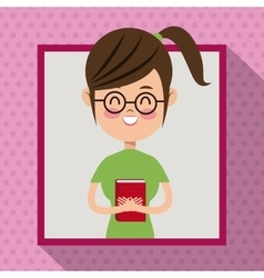 Girl glasses smile book student frame dot shadow vector
