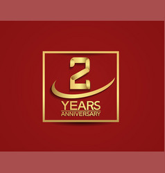 2 years anniversary with square and swoosh golden vector