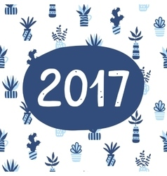 2017 poster on succulents pattern background vector image