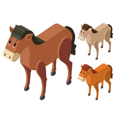 3d design for horses in three colors vector image
