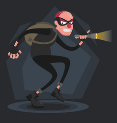 A balding thief wearing a mask smiles and sneaks vector
