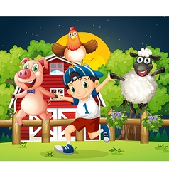A boy playing with the farm animals vector