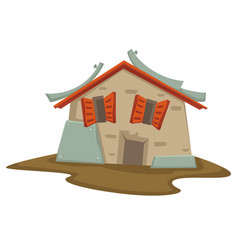Abandoned house with aged and weathered look vector