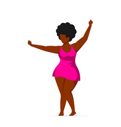 Attractive woman plus size dancing in swimming vector