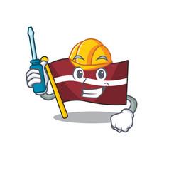 Automotive cartoon flag latvia in with mascot vector